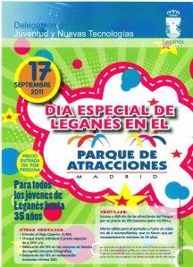 Cartel Dia de Leganés en el Parque de Atracciones de Madrid
