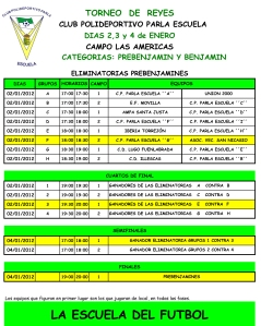 Calendario Torneo CPvo Parla Escuela 2012