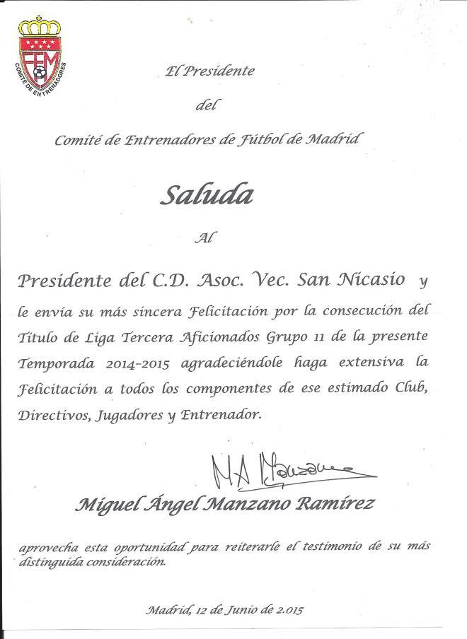 Felicitación Comité de Entrenadores Campeón Tercera Regional CD AV San Nicasio