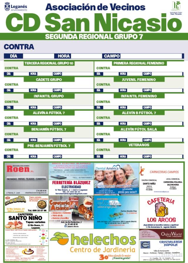 Cartel Patrocinadores CD Asoc Vec San Nicasio 2015-2016