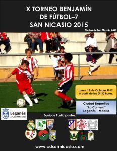 Cartel - X Torneo Benjamin de Futbol 7 San Nicasio 2015