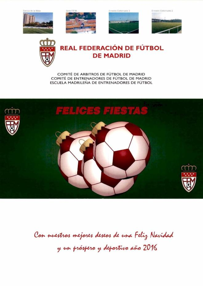Felicitacion de Navidad Real Federacion de Futbol de Madrid 2015