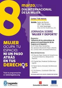 Cartel Ayuntamiento de Leganés Dia de la Mujer 2016