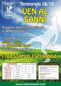 Cartel Campaña Captacion Jugadores CD SAN NICASIO 2018 - 2019