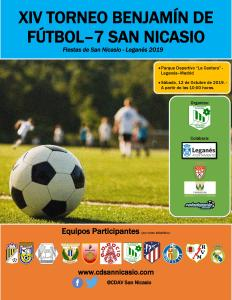 Cartel XIV Torneo Benjamín Fútbol 7 San Nicasio 2019